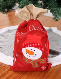 Fashion Red Snowman Pattern Design Drawstring Bag
