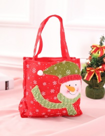 Fashion Green+red Snowman Decorated Christmas Gift Bag