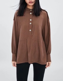 Fashion Brown Pure Color Design Long Sleeves Smock