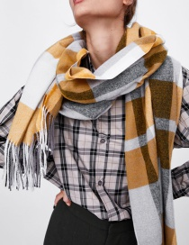 Fashion Yellow+gray Tassel Decorated Color Matching Scarf