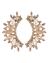 Fashion Champagne Diamond Decorated Hollow Out Earrings