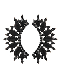 Fashion Black Diamond Decorated Hollow Out Earrings