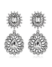 Elegant Antique Silver Full Diamond Design Hollow Out Earrings