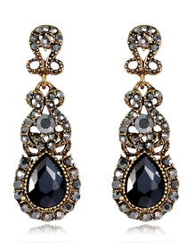 Elegant Black Pure Color Design Hollow Out Earrings