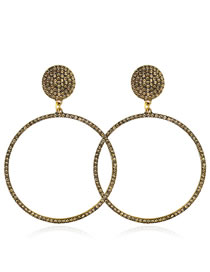 Elegant Antique Gold Full Diamond Design Round Shape Earrings