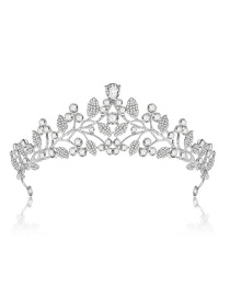 Fashion Silver Color Leaf Shape Design Hollow Out Crown