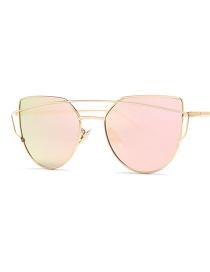 Fashion Pink Pure Color Design Cat Eyes Shape Sunglasses