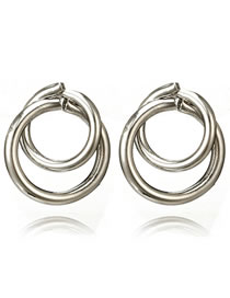 Fashion Silver Color Circular Ring Decorated Pure Color Earrings