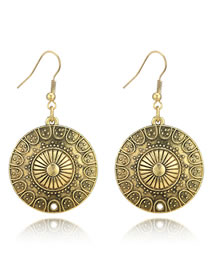Fashion Antique Gold Flower Pattern Decorated Earrings