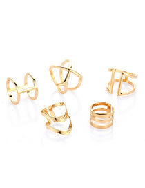 Fashion Gold Color Pure Color Design Double Layer Rings(5pcs)
