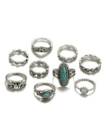 Fashion Silver Color Oval Shape Gemstone Decorated Ring(9pcs)