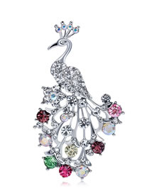 Fashion Silver Color Full Diamond Decorated Peacock Shape Brooch
