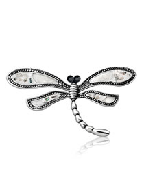 Fashion Silver Color Dragonfly Shape Decorated Brooch