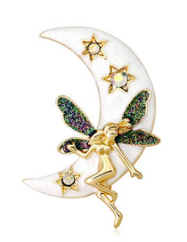 Fashion Gold Color+white Moon Shape Decorated Brooch