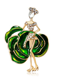 Fashion Green Beautiful Girl Shape Decorated Brooch