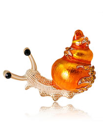 Fashion Orange Snails Shape Decorated Brooch
