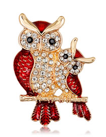 Fashion Red Owl Shape Decorated Brooch