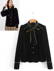 Fashion Black Bowknot Decorated Long Sleeves Blouse