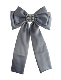 Fashion Gray Pure Color Decorated Bowknot Brooch