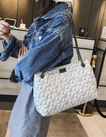 Fashion White Flower Pattern Decorated Pure Color Bag