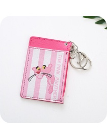 Fashion Pink Leopard Pattern Decorated Card Holder