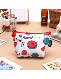 Fashion White+red Watermelon Pattern Decorated Coin Purse