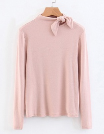 Fashion Pink Bowknot Shape Decoreated Shirt