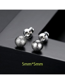 Fashion Silver Color Ball Shape Decorated Earrings (5mm )