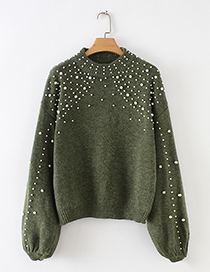 Fashion Green Full Pearl Decorated Round Neckline Sweater