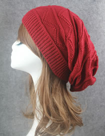 Fashion Red Stripe Pattern Decorated Pure Color Hat