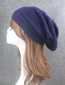 Fashion Blue Stripe Pattern Decorated Pure Color Hat