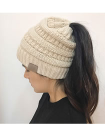 Fashion Beige Stripe Pattern Decorated Pure Color Hat