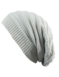 Fashion Light Gray Stripe Pattern Decorated Hat