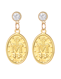Fashion Gold Color Oval Shape Design Letter Pattern Earrings