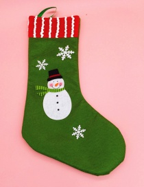 Fashion Green Snowman Pattern Decorated Christmas Sock