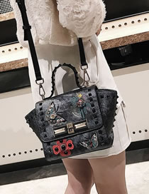 Fashion Gray Butterfly Pattern Embroidery Bag