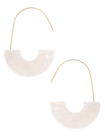 Fashion Beige U Shape Decorated Earrings