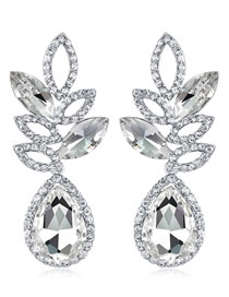 Fashion Silver Color Full Diamond Decorated Waterdrop Shape Earrings