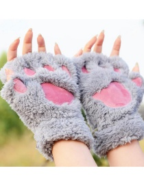 Fashion Gray Bear Paw Shape Design Gloves