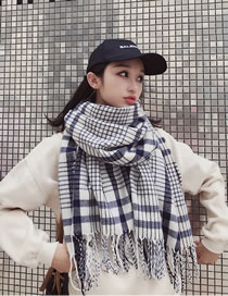 Fashion White Grids Pattern Decorated Scarf