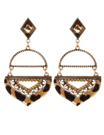 Fashion Gold Color Geometric Shape Decorated Leopard Pattern Earrings