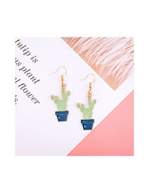 Simple Blue+green Cactus Shape Decorated Earrings
