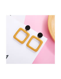 Fashion Yellow Square Shape Decorated Earrings