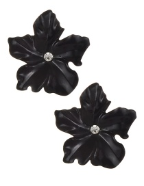 Fashion Black Flower Shape Decorated Earrings