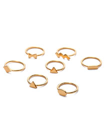 Fashion Gold Color Triangle Shape Decorated Ring (7 Pcs)