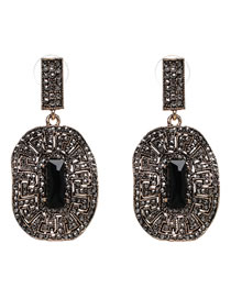 Vintage Black Diamond Decorated Hollow Out Earrings