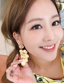 Fashion Gold Color Pure Color Decorated Earrings (one Pc)
