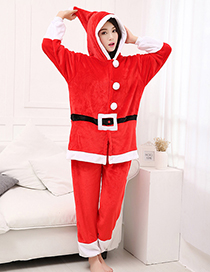 Fashion Red Color Matching Decorated Pajamas (2 Pcs )