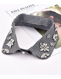 Fashion White+black Grid Pattern Decorated Fake Collar