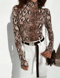 Fashion Brown Snake Skin Pattern Decorated Jumpsuit